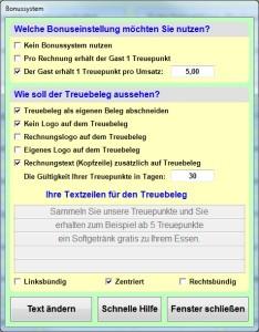 Gastronomie Kassensoftware Bistro-Cash Treue-Bonussystem