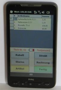 Smartphone HTC HD2 mit der Erweiterung BC-Mobile passend für die Gastronomie Kassensoftware Bistro-Cash