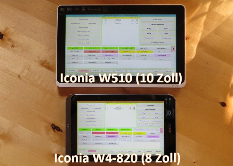 Vergleich Tablet Acer Iconia W4-820 vs. Iconia W-510 mit der Gastronomie-Kassensoftware Bistro-Cash