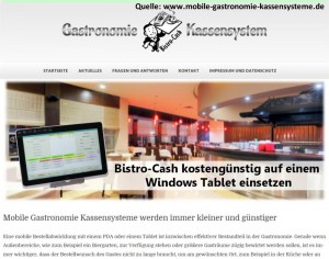 Vergleich von Tablet-Gastronomie-Kassensystemen Windows-Tablet mit Bistro-Cash