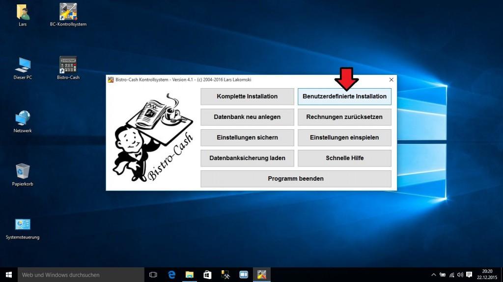 Bistro-Cash SQL-Datenbank unter Windows 10 deinstallieren und reparieren