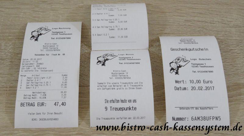 Bon Belege vom Epson TM-T20II mit Bistro-Cash
