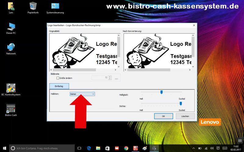 Logos ausdrucken Kassensystem Bistro-Cash und dem Bondrucker Epson TM-T20II