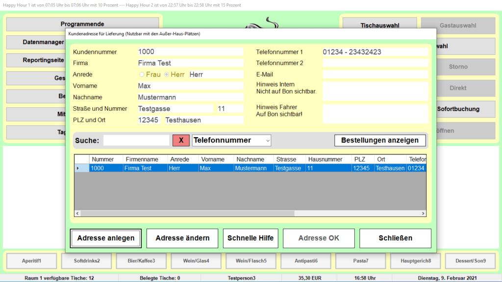Bistro-Cash Kassensoftware Lieferadressen