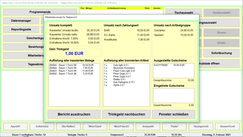 Bistro-Cash Kassensoftware Mitarbeiterumsatz