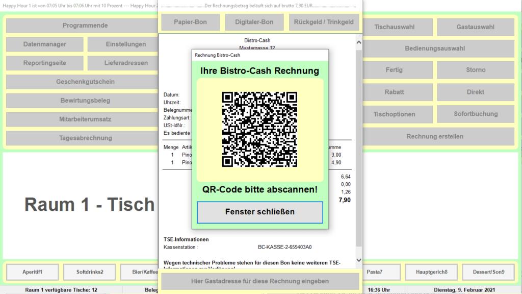 Bistro-Cash Kassensoftware Online-Rechnung
