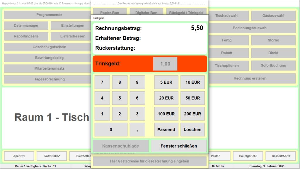 Bistro-Cash Kassensoftware Trinkgeld